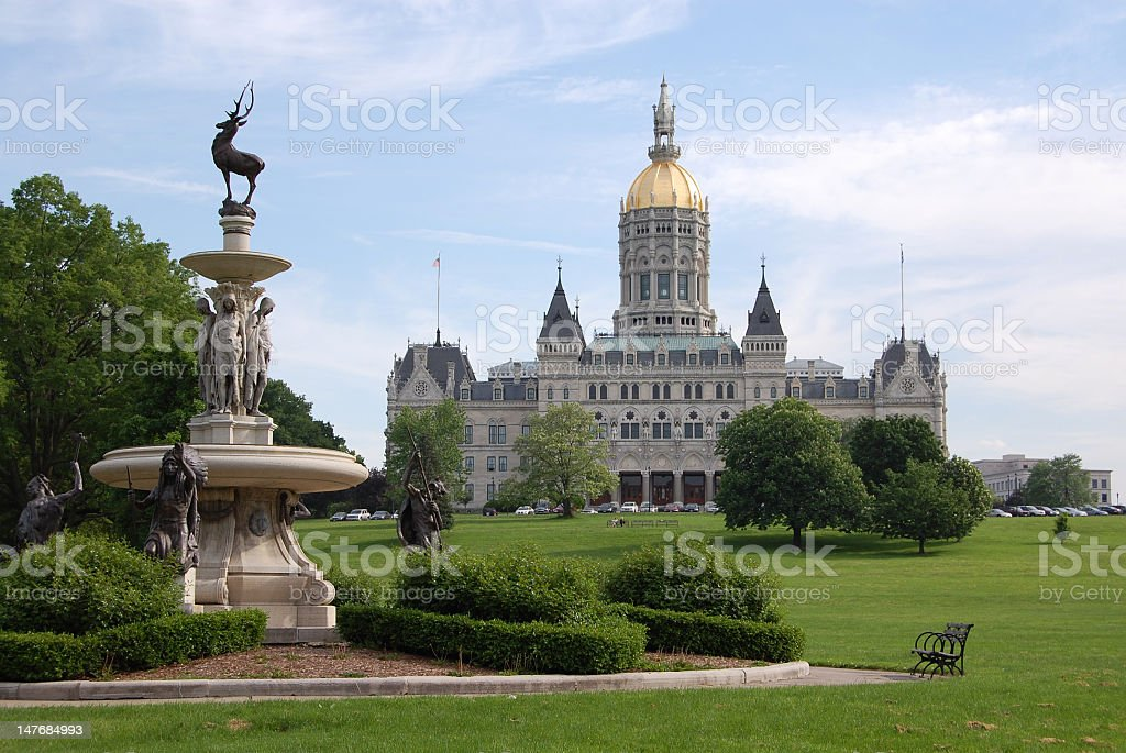 A fountain and park at Hartford stock photo