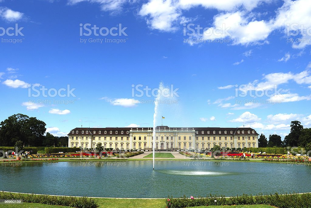 Fountain and pond in front of royal palace royalty-free stock photo