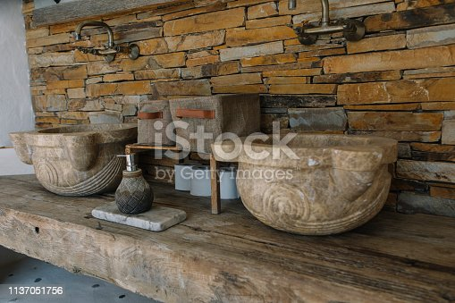 Stone sink and iron fountains