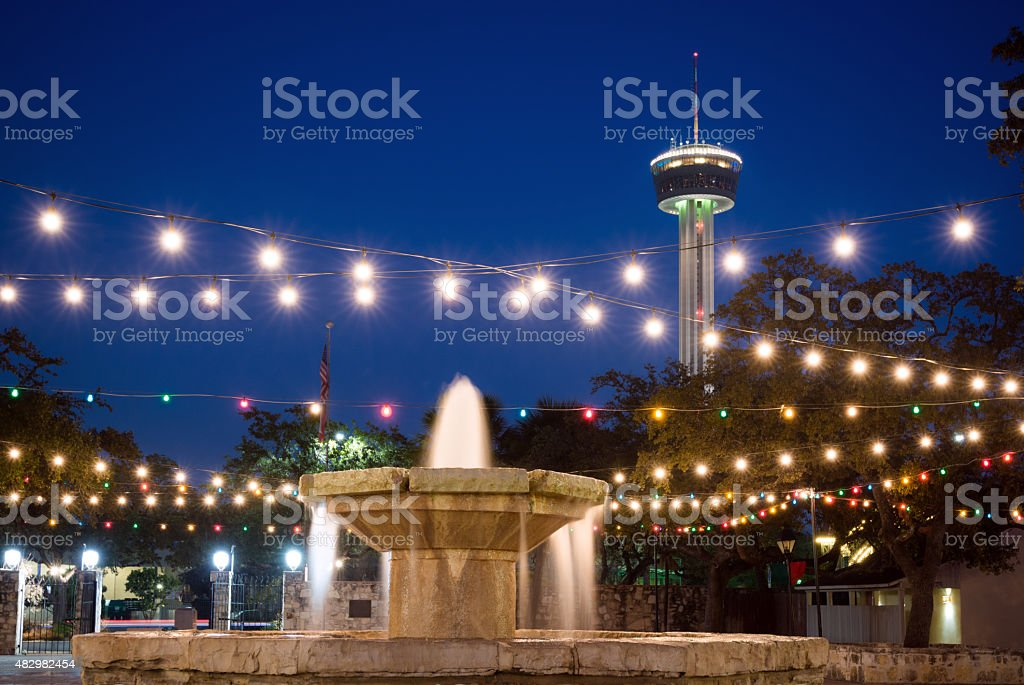 Fountain and Tower of the Americas in San Antonio, TX stock photo