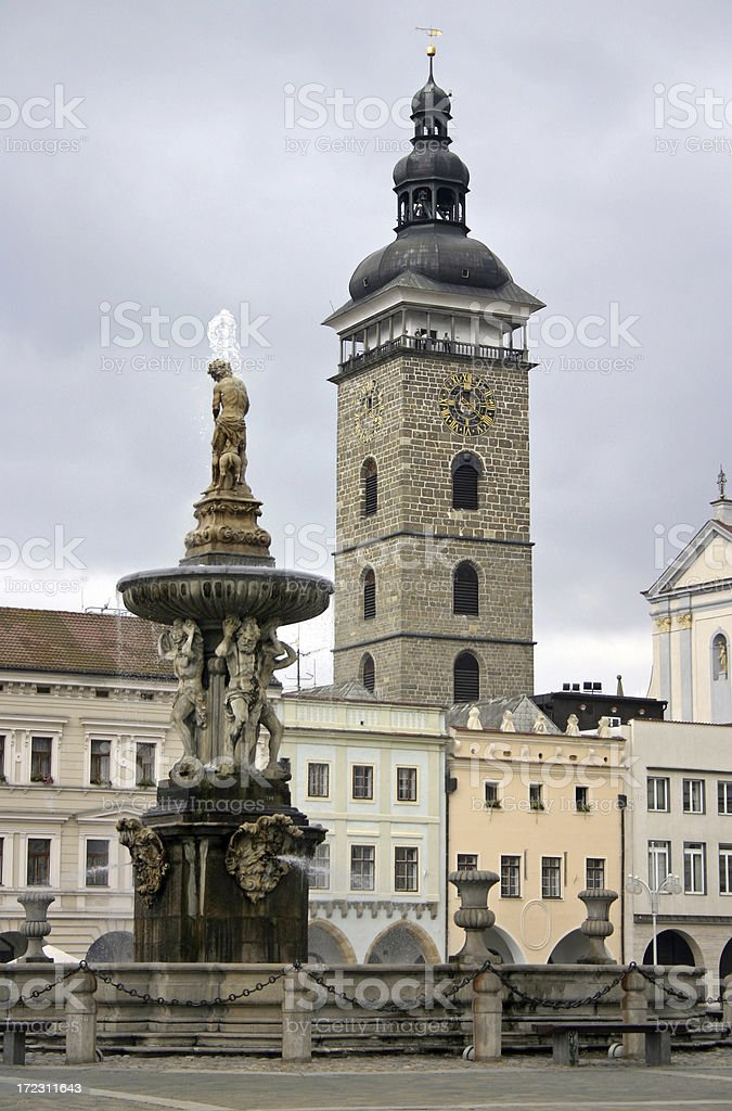 Fountain and tower stock photo