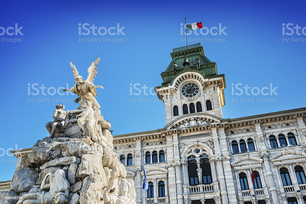 Fountain and Town Hall in Trieste, Italy stock photo