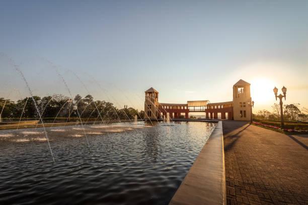 fountain and viewpoint at tangua park - curitiba, parana, brazil - curitiba stock photos and pictures