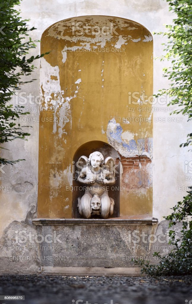 Fountain Andromeda Theater in the  villa Arconati stock photo