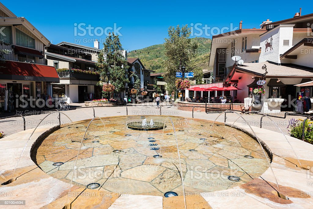 Fountain at a square on Bridge Street in Vail, Colorado stock photo