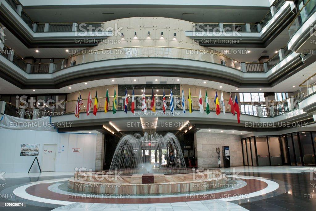 Fountain at atrium inside the Atlanta City Hall stock photo
