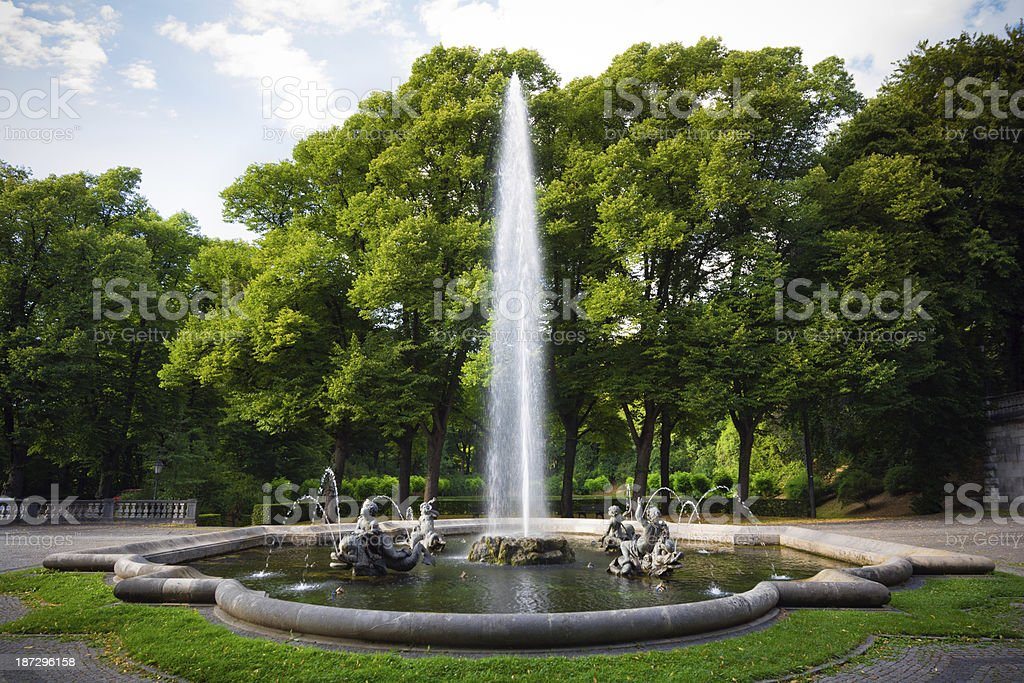 Fountain at base of Friedensengel in Munich, Germany royalty-free stock photo