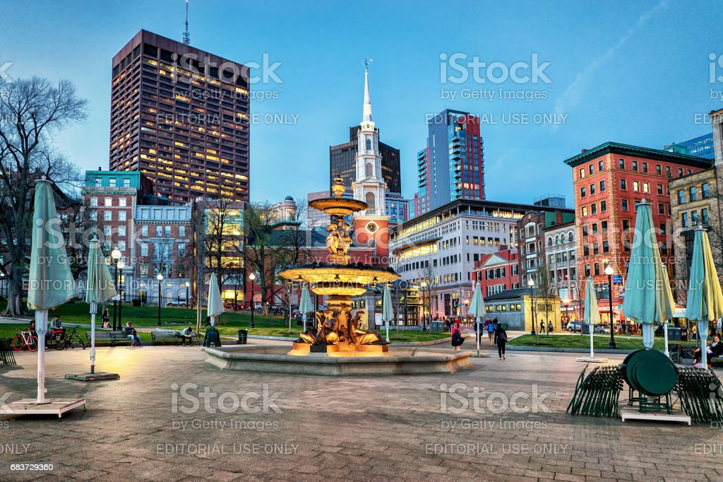 Fountain at Boston Common public park and people at night stock photo