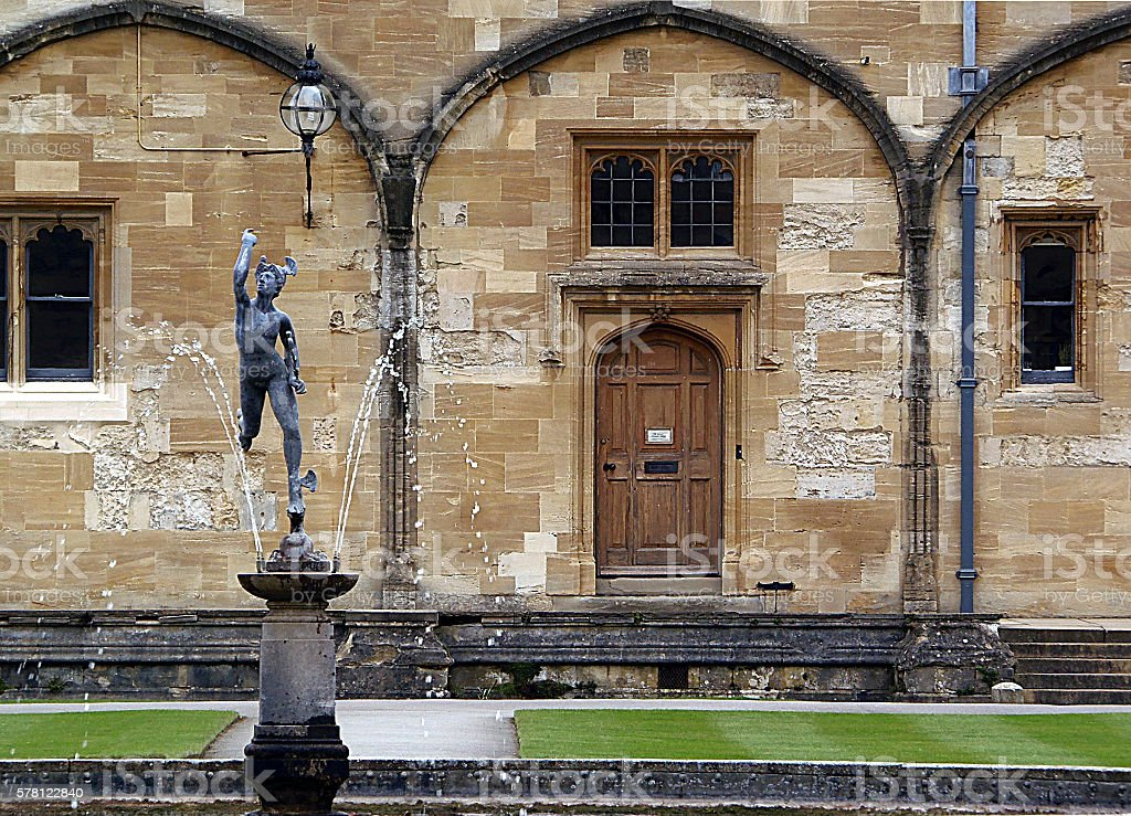 Fountain at Christ Church College, Oxford (United Kingdom) stock photo