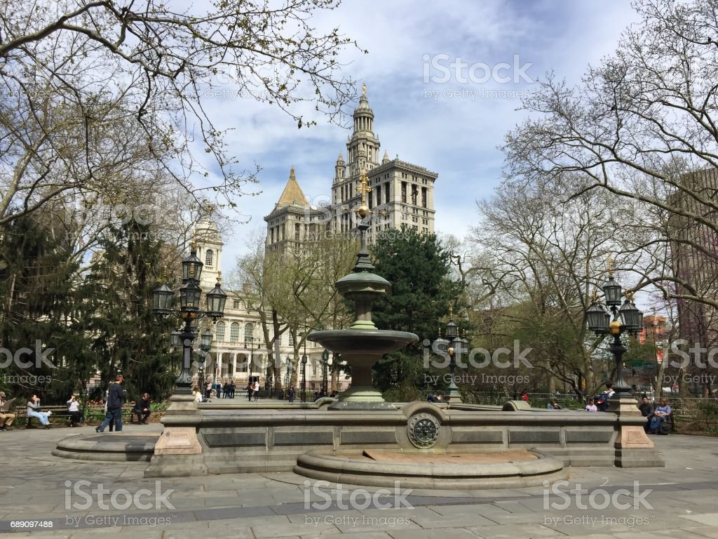 Fountain at City Hall park with blue sky, New York stock photo