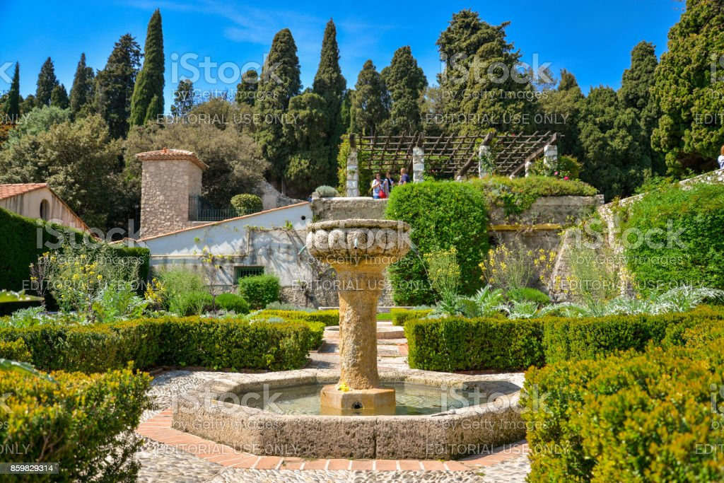 Fountain at garden Franciscan monastery stock photo
