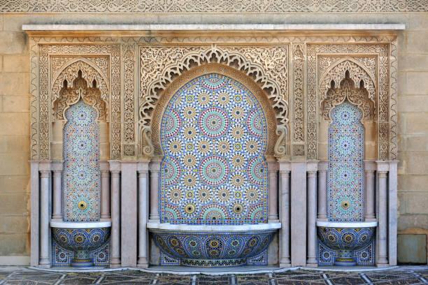fontänen på mausoleum av mohammed v, rabat, marocko - rabat marocko bildbanksfoton och bilder