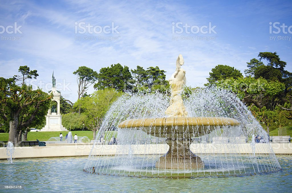 Fountain at Music Concourse in Golden Gate Park stock photo