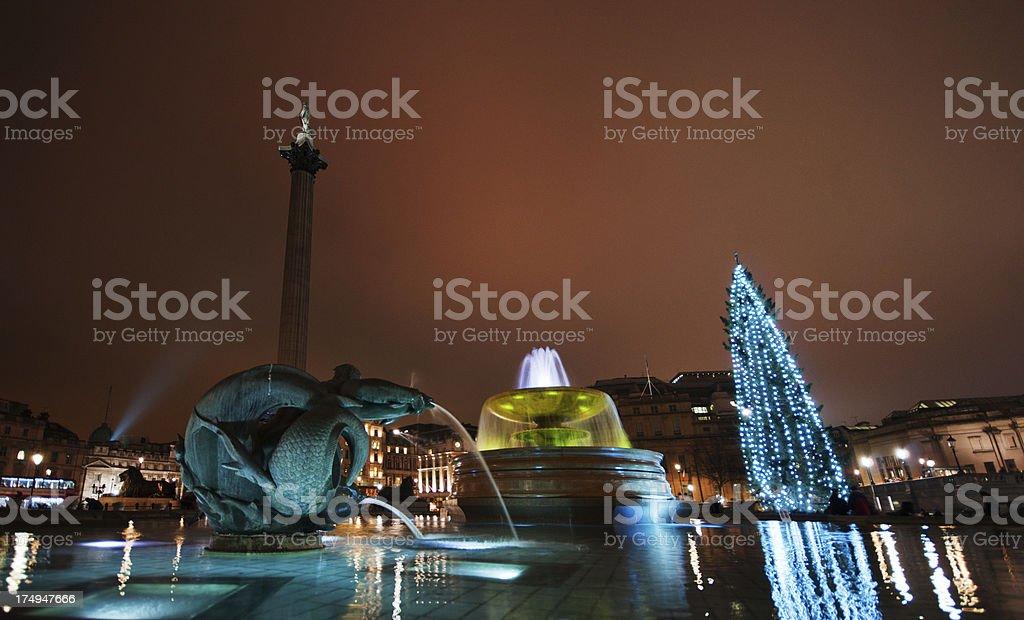 Fountain at night in Trafalgar Square royalty-free stock photo