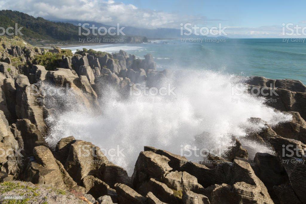 Fountain at pancake rocks stock photo