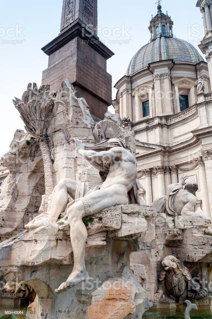 Fountain at Piazza Navona : Rome, Italy - Zbiór zdjęć royalty-free (Architektura)