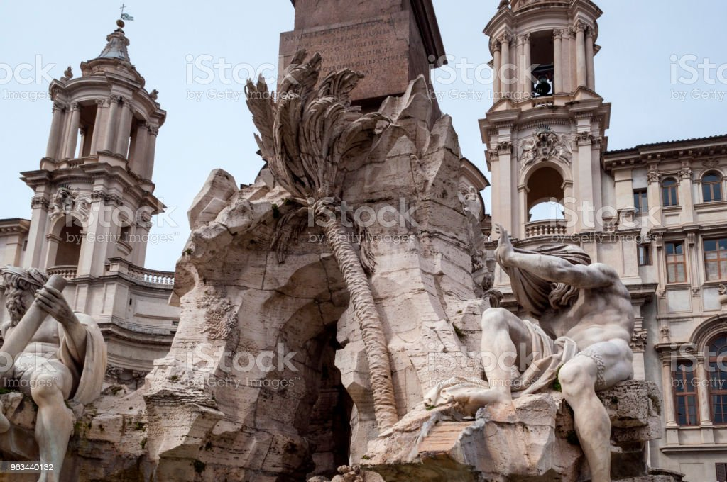 Piazza Navona çeşmede: Roma, İtalya - Royalty-free Antik Stok görsel