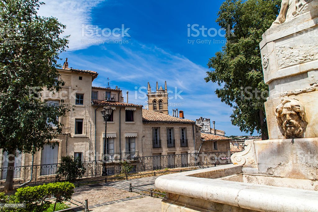 Fountain at Place de la canourgue in Montpellier stock photo