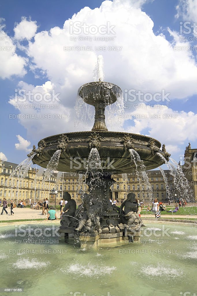 Fountain at Schlossplatz , Stuttgart Germany stock photo