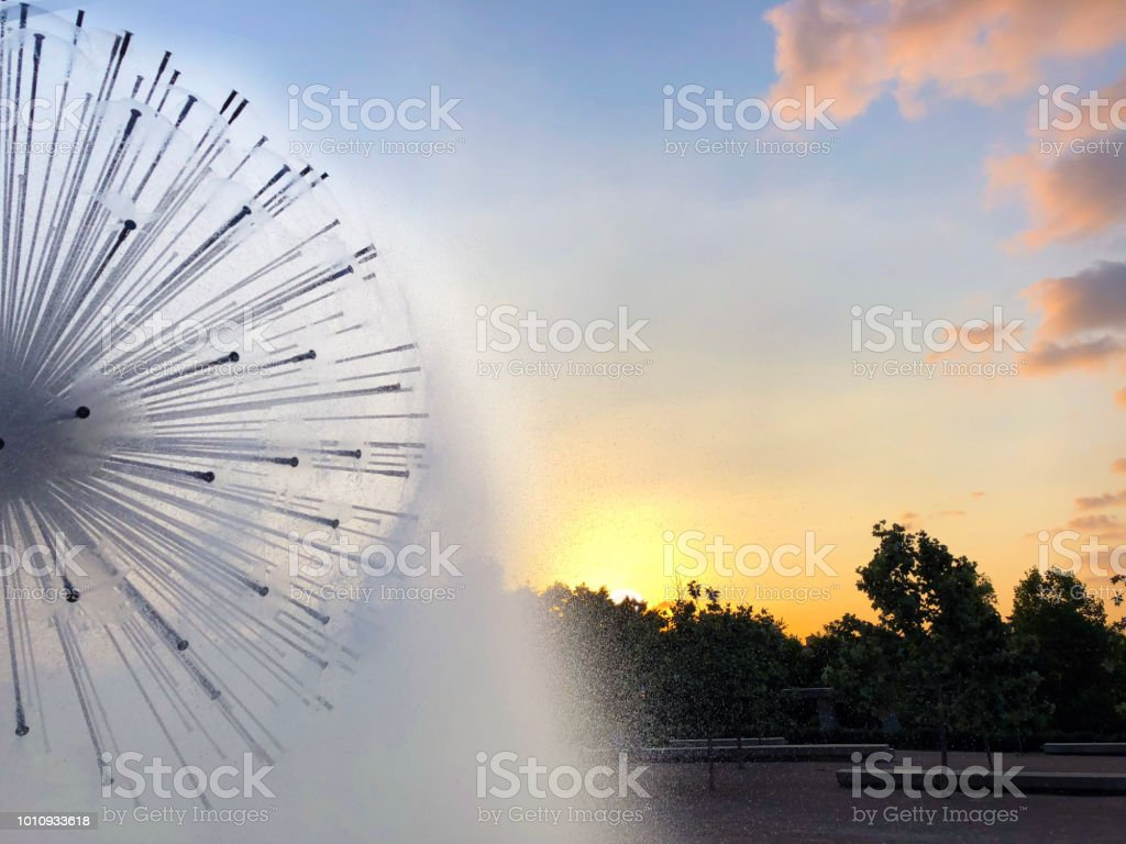Fountain at Sunset stock photo