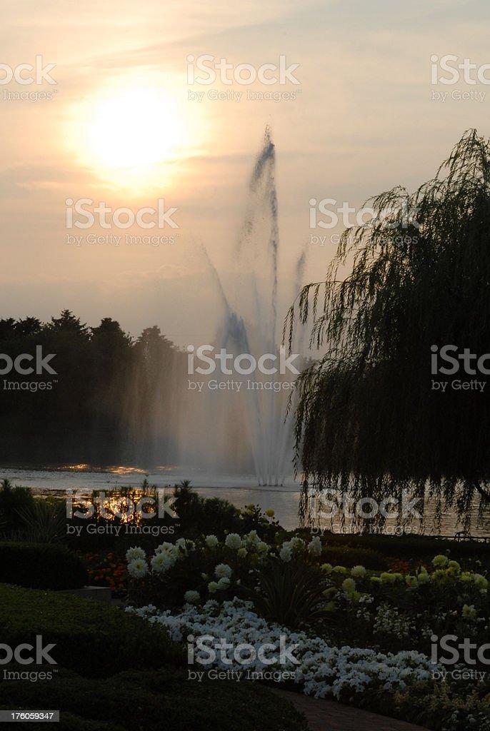 Fountain at Sunset stock photo