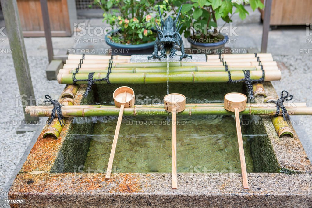 fountain at teramachi shopping district in kyoto japan stock photo