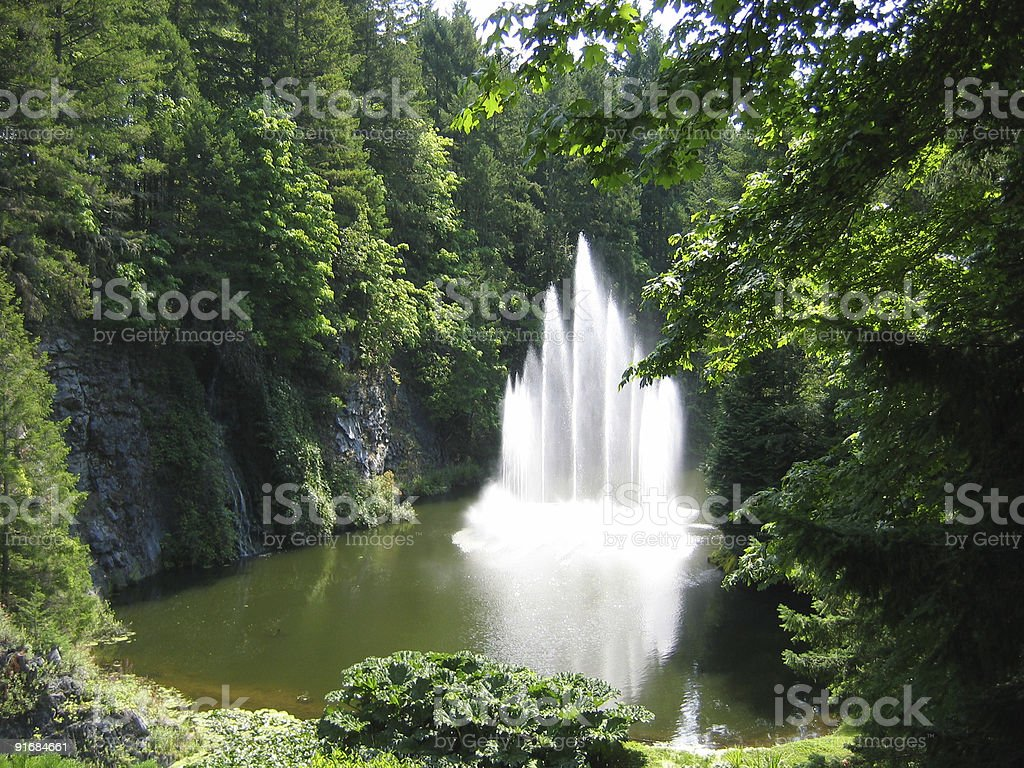 Fountain at the Beautiful Butchart Gardens royalty-free stock photo