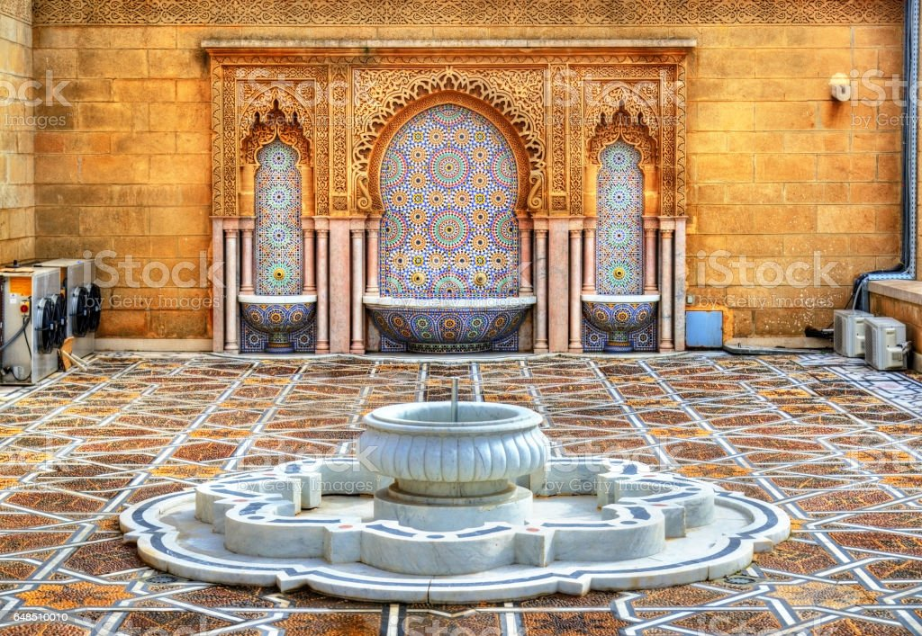 Fountain at the Mausoleum of Mohammed V in Rabat, Morocco stock photo