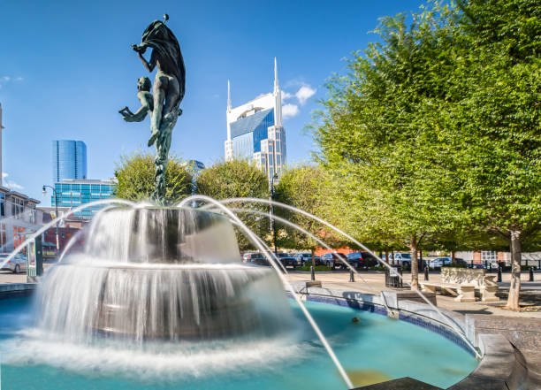 Fountain at the Symphony Place in Nashville, TN stock photo