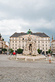 istock Brno, Czech Republic - June 16, 2019: fountain at travel city square 1265160068