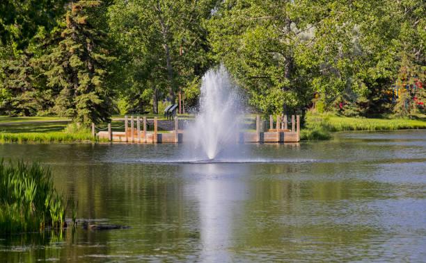 Fountain at Waskapoo Park stock photo