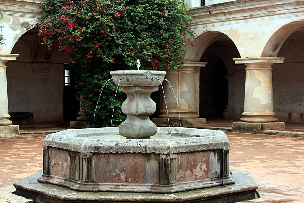 Fountain Capuchin Convent Antigua Guatemala stock photo
