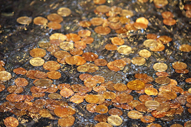 Fountain Coins stock photo