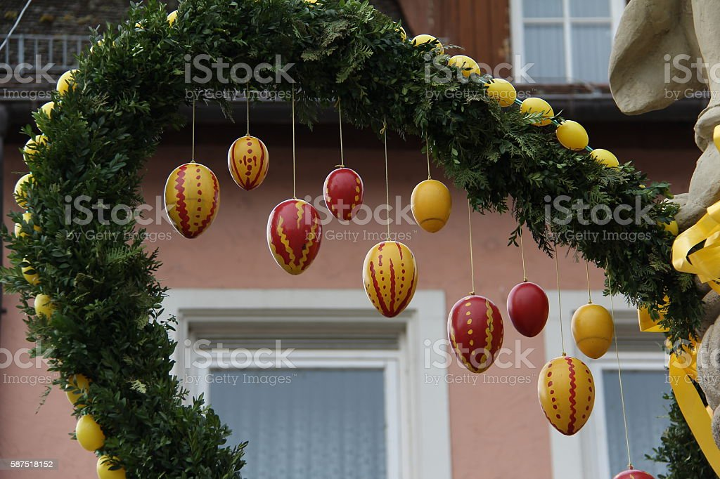 Fountain decorated Easter eggs stock photo