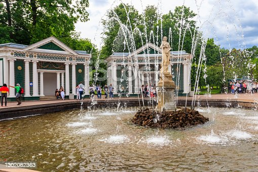 St. Petersburg, Russia - June 25, 2019: Fountain