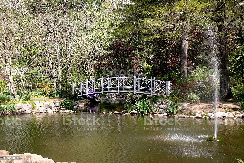 Fountain & Footbridge Over Pond stock photo