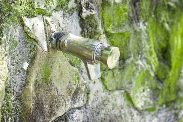 Fountain in a stone wall with moss. Selective focus. stock photo