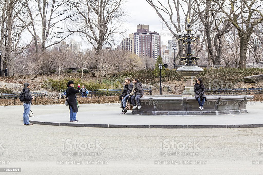 Fountain In Central Park New York City royalty-free stock photo