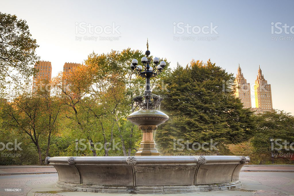 Fountain in Central Park, NYC stock photo