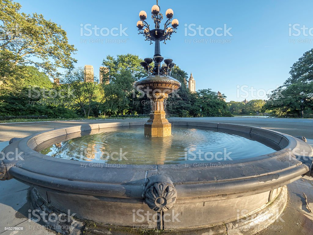 Fountain in Central Park stock photo