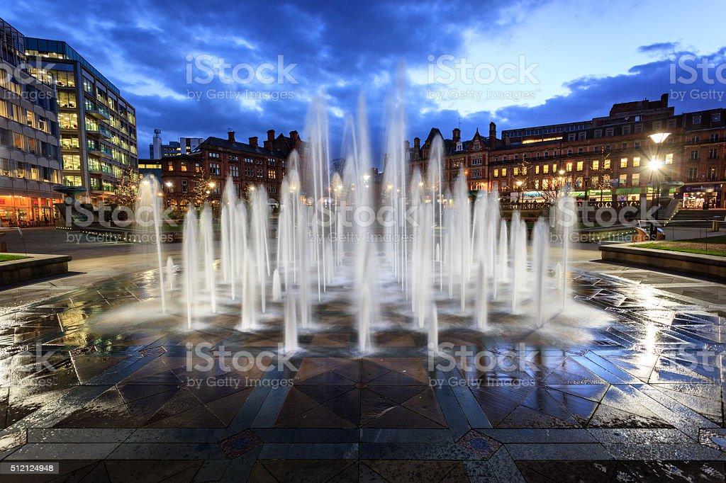 Fountain in city centre Sheffield stock photo