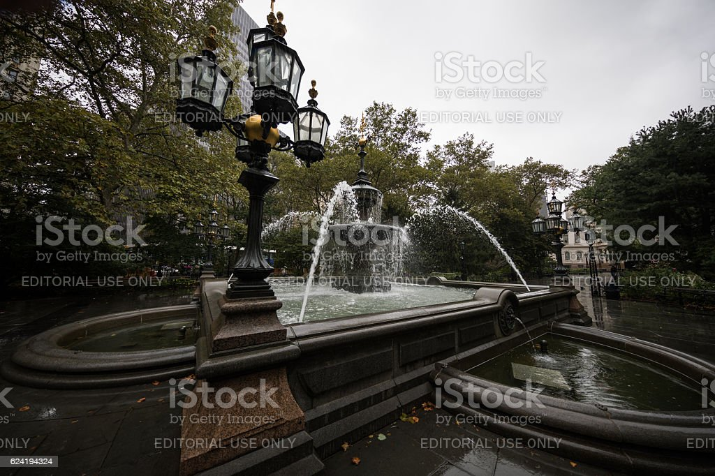 Fountain in City Hall Park, New York CIty, United States stock photo