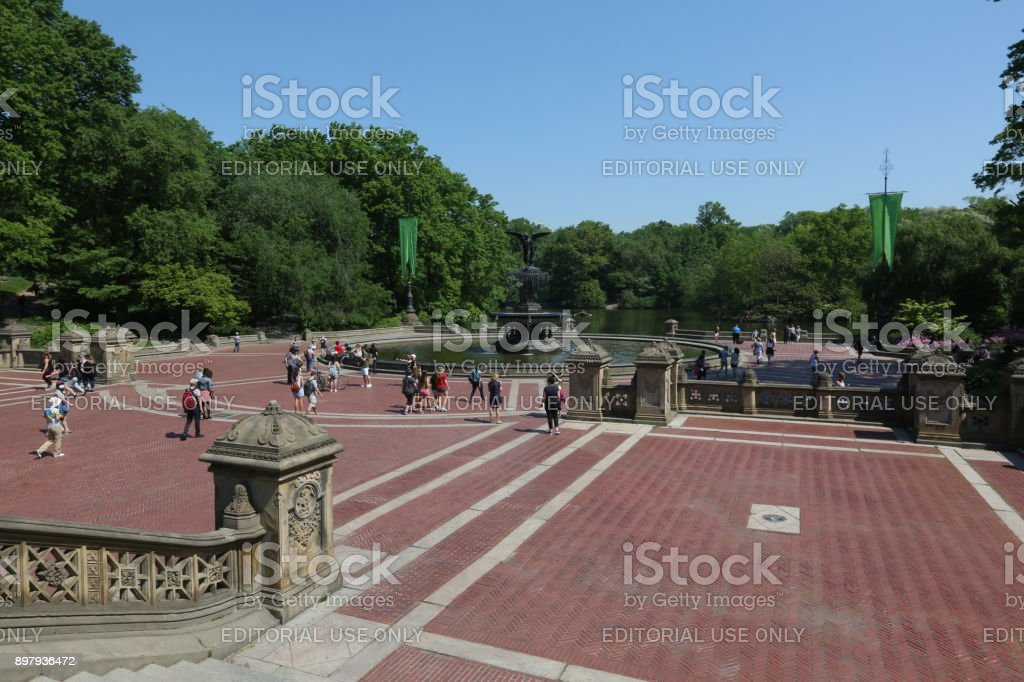 Fountain in forest. America, New York City - May 14, 2017 stock photo