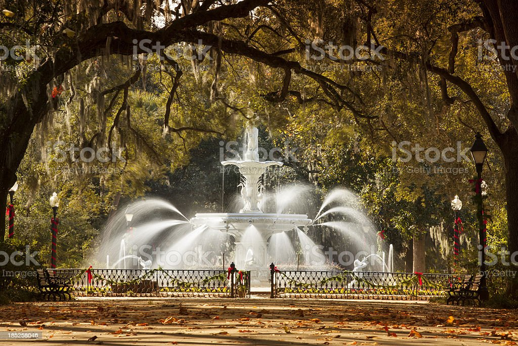 Fountain in Forsyth Park Savannah, Georgia, USA stock photo