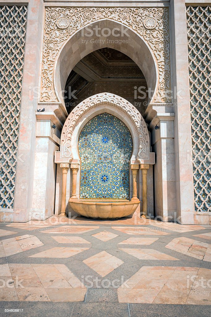 Fountain in front of Hassan II Mosque  in Casablanca, Morocco. stock photo