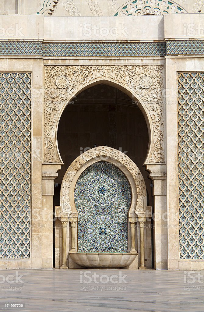 Fountain in front of Hassan II Mosque royalty-free stock photo