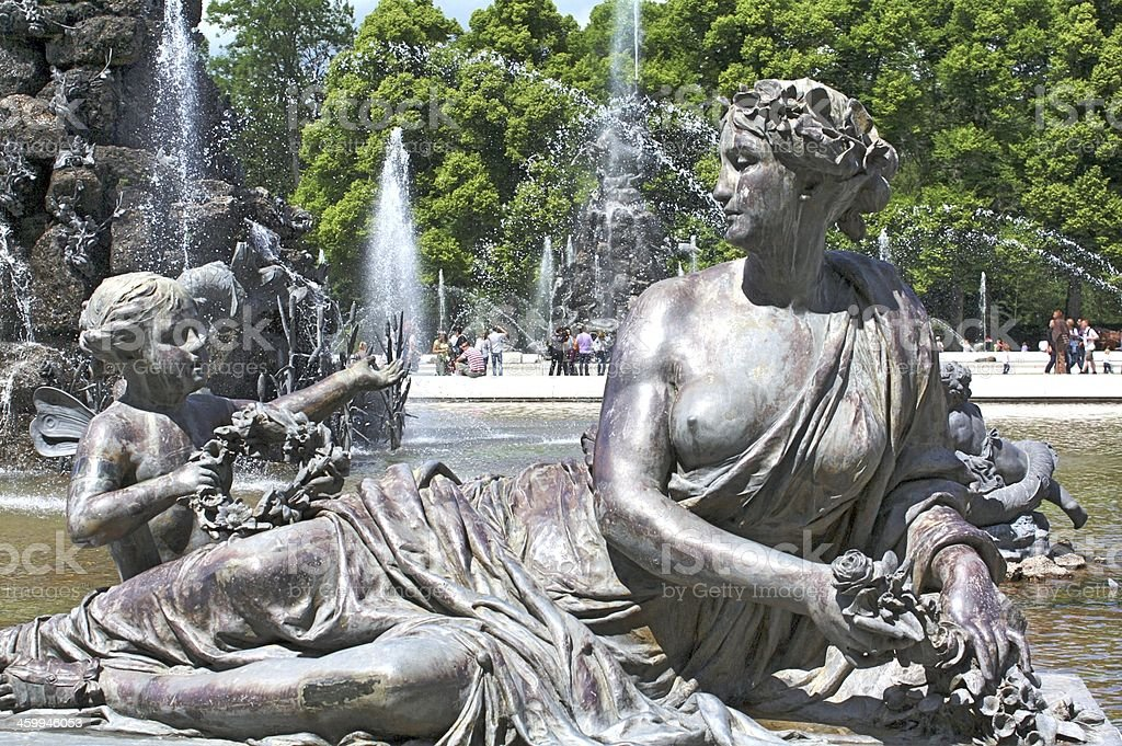 fountain in front of Herrenchiemsee royalty-free stock photo