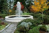A small fountain in the garden. Garden architecture