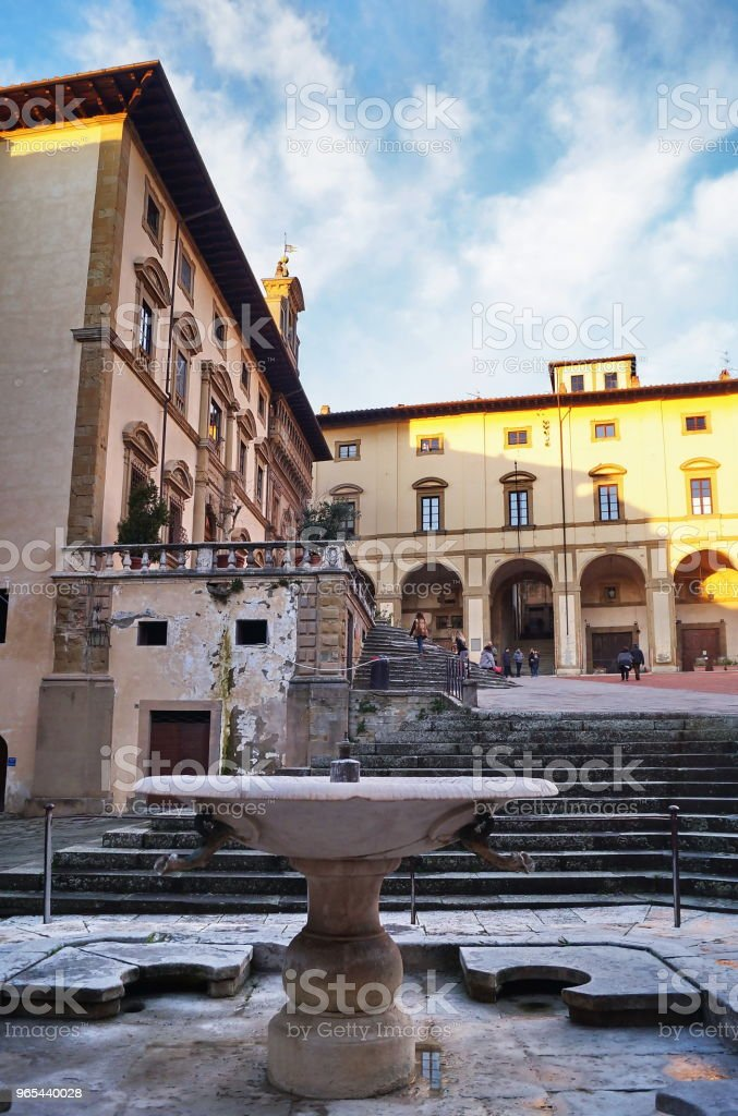 Fountain in Grande square, Arezzo royalty-free stock photo