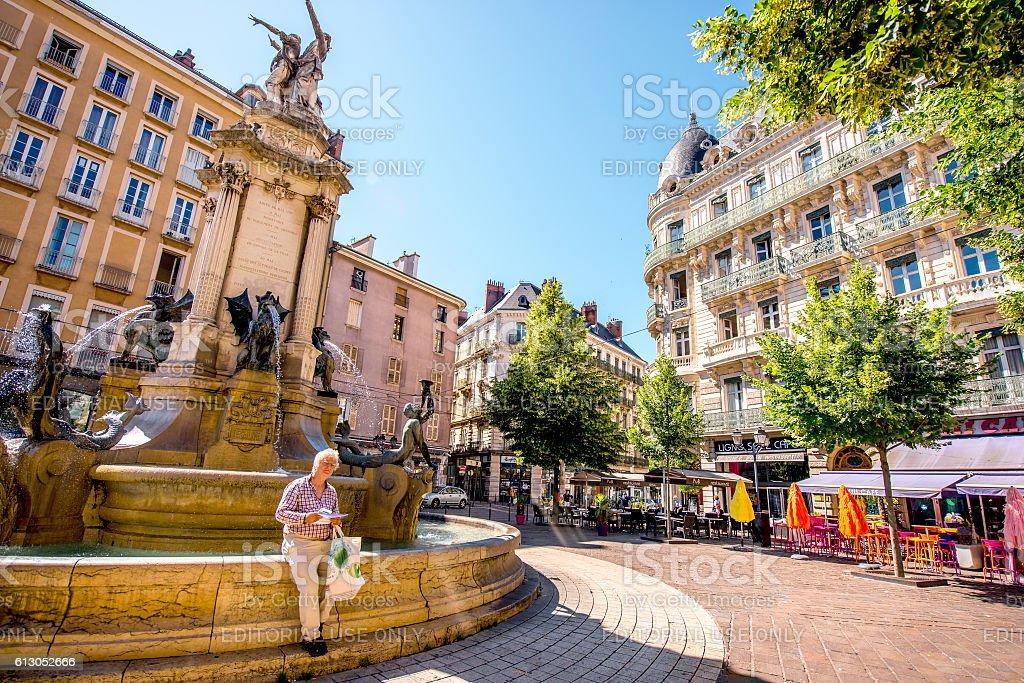 Fountain in Grenoble city stock photo